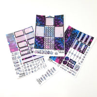 420 Weekly Sticker Kit - VERTICAL - Blue Purple Pink Bokeh Sparkle