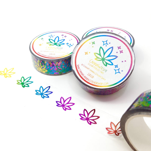 Rainbow Foil Cannabis Washi Clear Tape - Stylized Leaves - 15mm wide