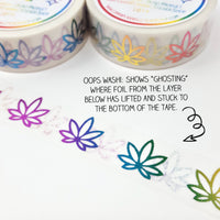 OOPS/MISFIT Rainbow Foil Pot Leaf Washi - Stylized Leaves - 15mm wide