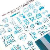 STONE N BONE Weedy Date Night Hobonichi Sticker Kit - Bokeh Teal