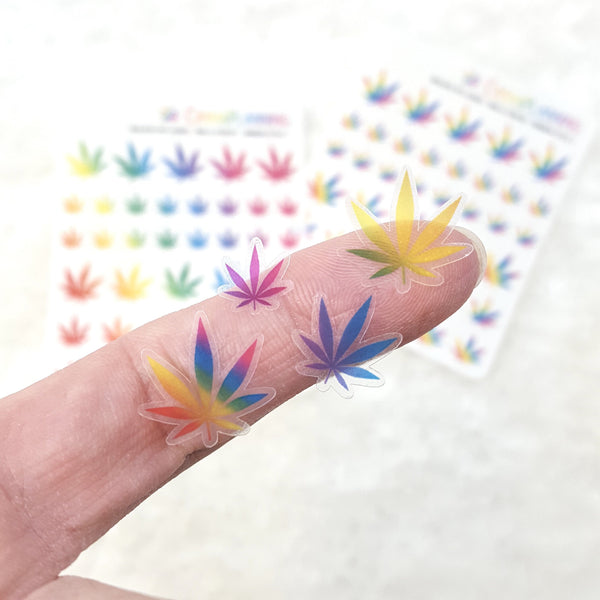 CLEAR Rainbow Realistic-style Pot Leaf Stickers (2 styles!)