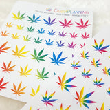 Rainbow Realistic-style Pot Leaf Stickers (2 styles!)