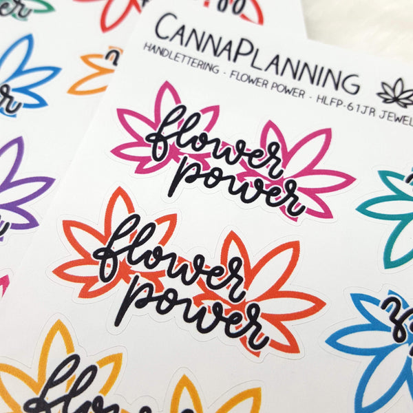 Flower Power Marijuana Hand-lettered stickers (1.625 inches wide)