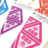 Edibles Warning Stickers Style 7 (CBD Triangle Realistic Leaf)