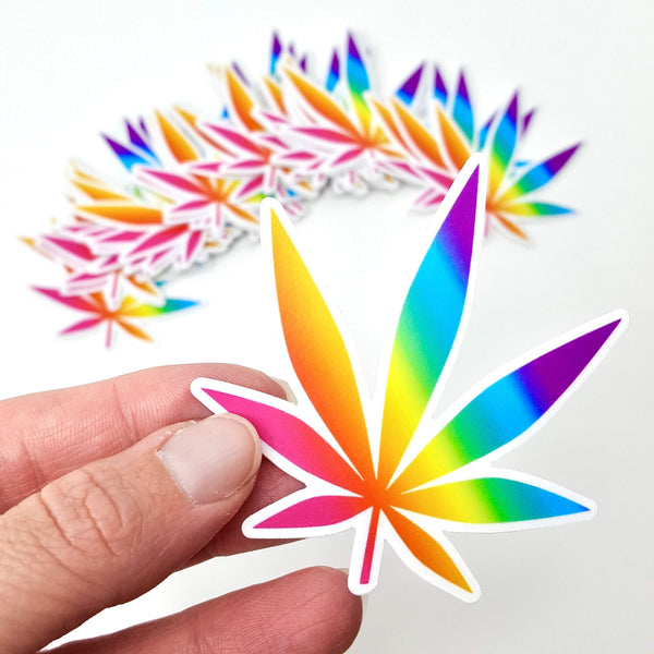 "Pot Leaf Weed Marijuana sticker die cut (3""x3"", vinyl, weatherproof, dishwasher safe)"