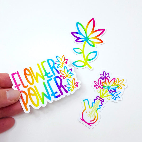 Marijuana Flower Power sticker die cuts (trio or singles; vinyl, weatherproof, dishwasher safe)