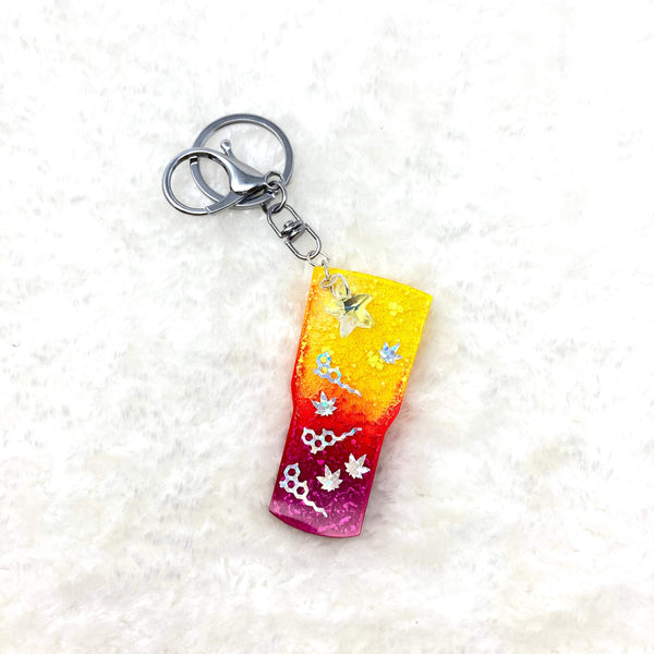 THC and Marijuana tumbler keychain with starfish crystal embellishment (Style RCK-03)
