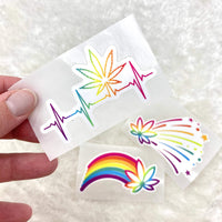 Cannabis rainbow firework and heartbeat vinyl die cuts  (trio or singles; weatherproof, dishwasher safe)