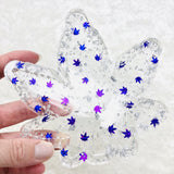 Sparkle Purple and silver Marijuana Leaf shaped ashtray made with handcut all original pot leaf confetti