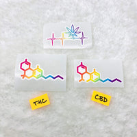 CBD, THC, and Pot Leaf Heartbeat vinyl die cuts  (trio or singles; weatherproof, dishwasher safe)