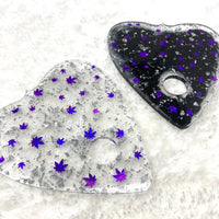 "Cannabis confetti 5.5""x6"" ouija planchette trays - purple, black, and silver"