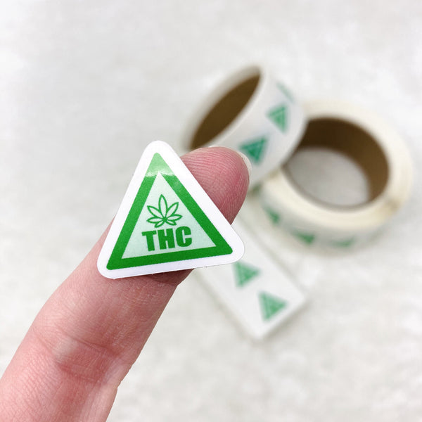 BULK THC Warning Stickers - Style 6 Green Medium - 1,000, 200, or 70 stickers - vinyl, waterproof, oil proof (slightly offset cuts)