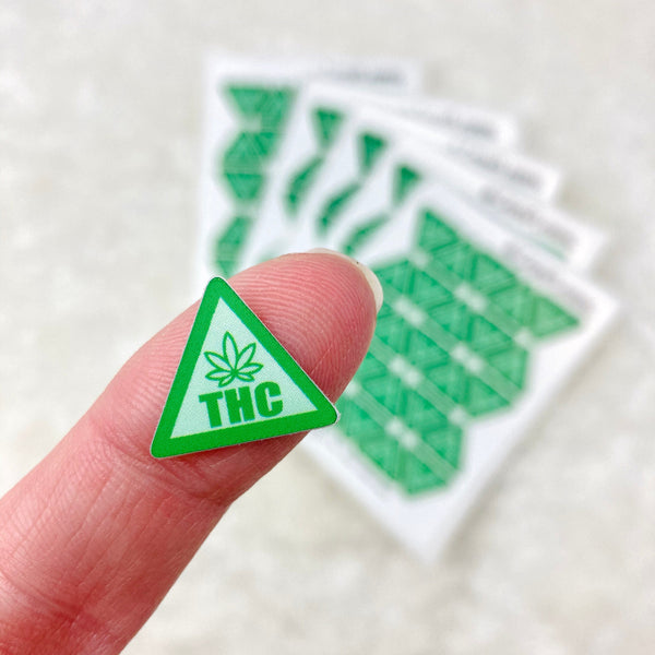 Premium/Bulk Cannabis Warning Stickers - Style 6 Green - Small - vinyl, waterproof, oil proof - *regular* and *misfit* quality
