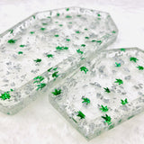 2-piece Marijuana Coffin Rolling Tray set with handmade pot leaf confetti - Green and Silver