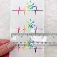 PREMIUM/BULK Clear Pot leaf heartbeat stickers - 3 inches wide, black or rainbow | marijuana stickers edibles stickers warning labels 420