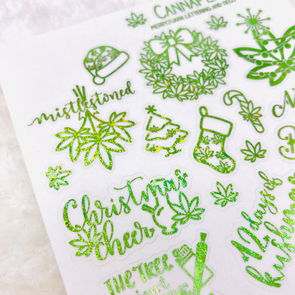 CLEAR FOILED Merryjuana Christmas Deco and Hand-lettered stickers | kushmas winter stickers holiday winter christmas Dankmas stickers