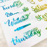 CLEAR FOILED WeedDays Style 3 Day of the Week Stickers | Handlettered weekdays stickers date cover stickers date dots planner stickers