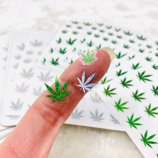 CLEAR FOILED Realistic-Style Pot Leaf Stickers | Marijuana Art, Cannabis, 420 Design, Weed Planner Sticker, marijuana stickers, 420 stickers