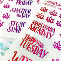 CLEAR FOILED WeedDays Style 2 Day of the Week Stickers | Handlettered day of the week stickers date covers sparkle glitter planner stickers