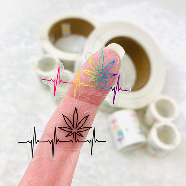 PREMIUM/BULK Clear Pot leaf heartbeat stickers - 1.5 inches wide, black or rainbow | marijuana stickers edibles stickers warning labels 420