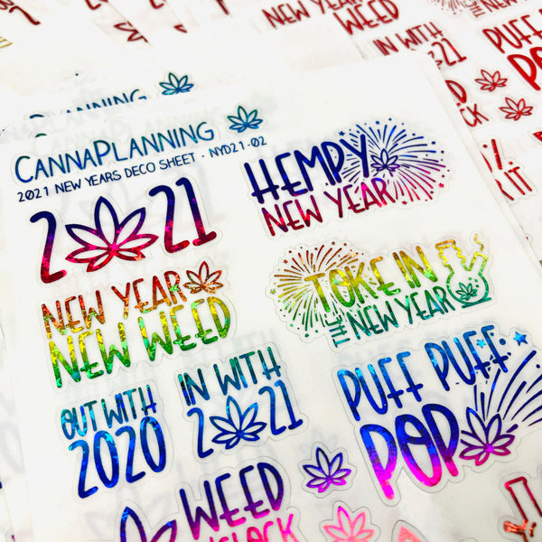 CLEAR FOILED 2021 Marijuana New Years Stickers | Hempy new year stickers 2021 resolutions planner deco, happy new year stickers, planner