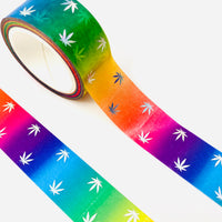 Rainbow Pot leaf Washi Tab Tape | page flags, marijuana washi tape, foiled washi, rainbow washi, holo tape, planner accessories