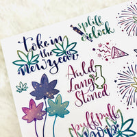 Marijuana New Years Deco and Hand-lettered Stickers (previous year updates) | weed stickers, new years stickers, planner stickers