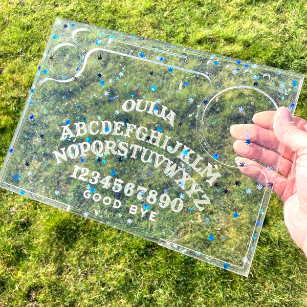 Large Ouija resin rolling tray with Blue and Black pot leaf confetti (Tester/demo model) | weed tray, marijuana tray, stoner tray