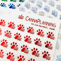 CLEAR FOILED Marijuana Paw Print Stickers | pet stickers, cat stickers, dog stickers, vet planner stickers, cbd stickers, thc stickers