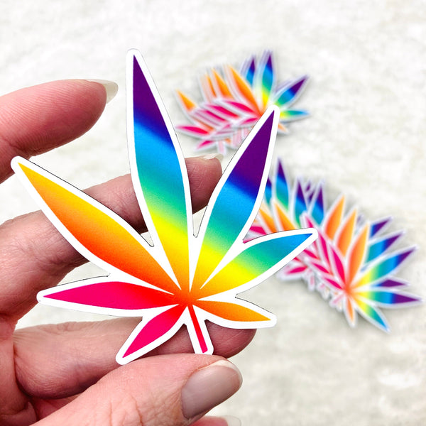 3-inch Rainbow Pot Leaf MAGNET | weed magnet, marijuana magnet, cannabis magnet, 420 magnet, stoner gift, rainbow weed