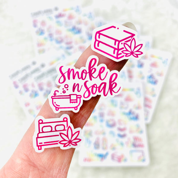 Self Care Marijuana Stickers | Smoke and soak, therapy stickers, self care stickers, smoke a blunt, stoner stickers, lettering stickers