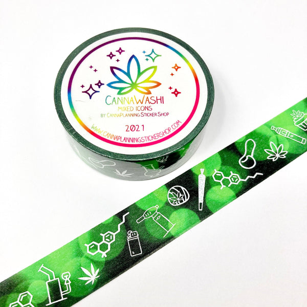 Green and Silver foiled marijuana washi tape (1 roll) | cannabis washi, weed tape, cannabis decoration, bong washi, edibles washi, 420 washi