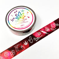 Pink and Black cannabis washi tape (1 roll)