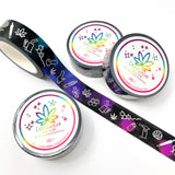 Fuchsia/Purple/Teal and Black marijuana washi tape (1 roll) | cannabis washi, weed tape, bong washi, edibles washi, foiled washi