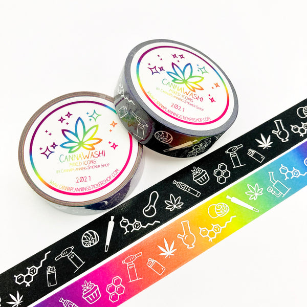 Pair (2 rolls) black and rainbow marijuana washi tape collection | weed washi, weed tape, bong washi, edibles washi, hemp washi, 420 washi