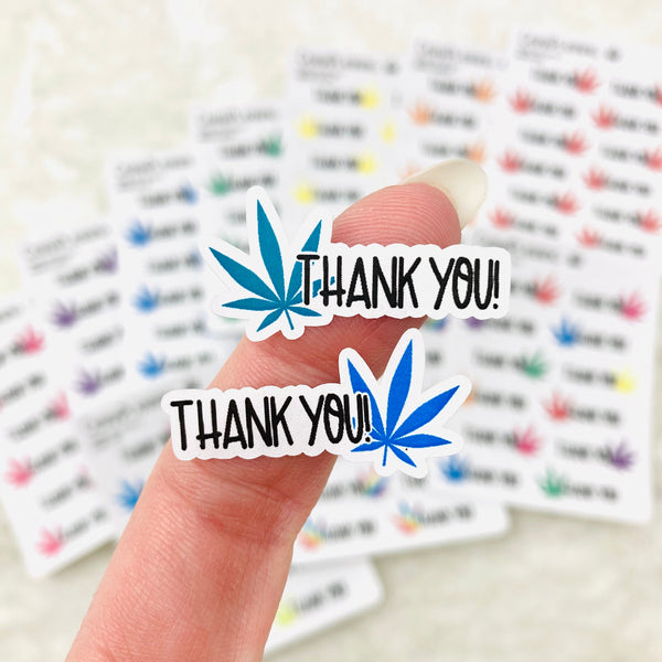 Pot Leaf Thank You stickers (Style 2) | business stickers, gift stickers, marijuana thank you stickers, gift giving stickers, gift labels