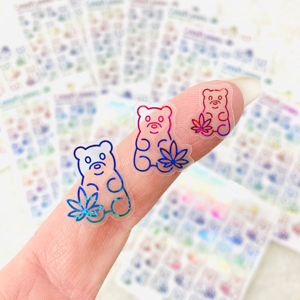 CLEAR FOILED Marijuana Gummy Candy Bear stickers | Cannabis and 420 friendly themed candy stickers for scrapbooking and stoner decoration