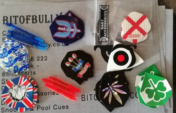 BitofBully darts clearance pack. 5 random items per pack Dart Flights/stems/shafts