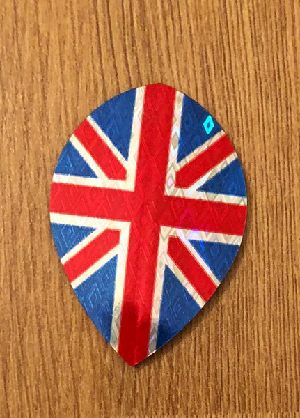 Datadart tri-colour union jack pear shape dart flights 5 sets