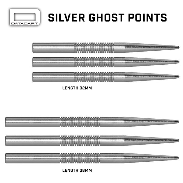 Datadart Ghost dart points 38mm silver
