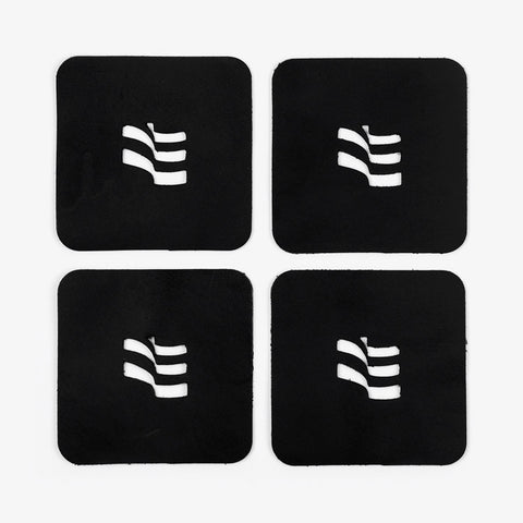 Black Leather Flag Drink Coasters | 4-Pack - Bad Goods