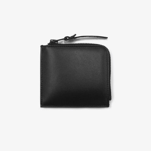 Black Leather Half Zip Wallet - Bad Goods