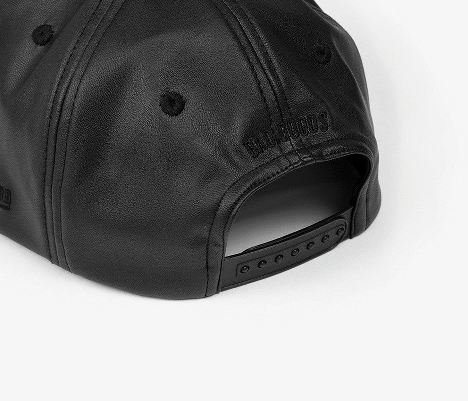 Black Leather Flag Snapback - Bad Goods