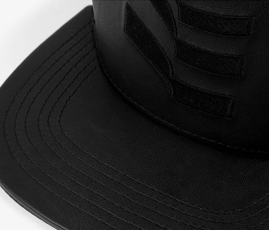 Black Leather Flag Snapback