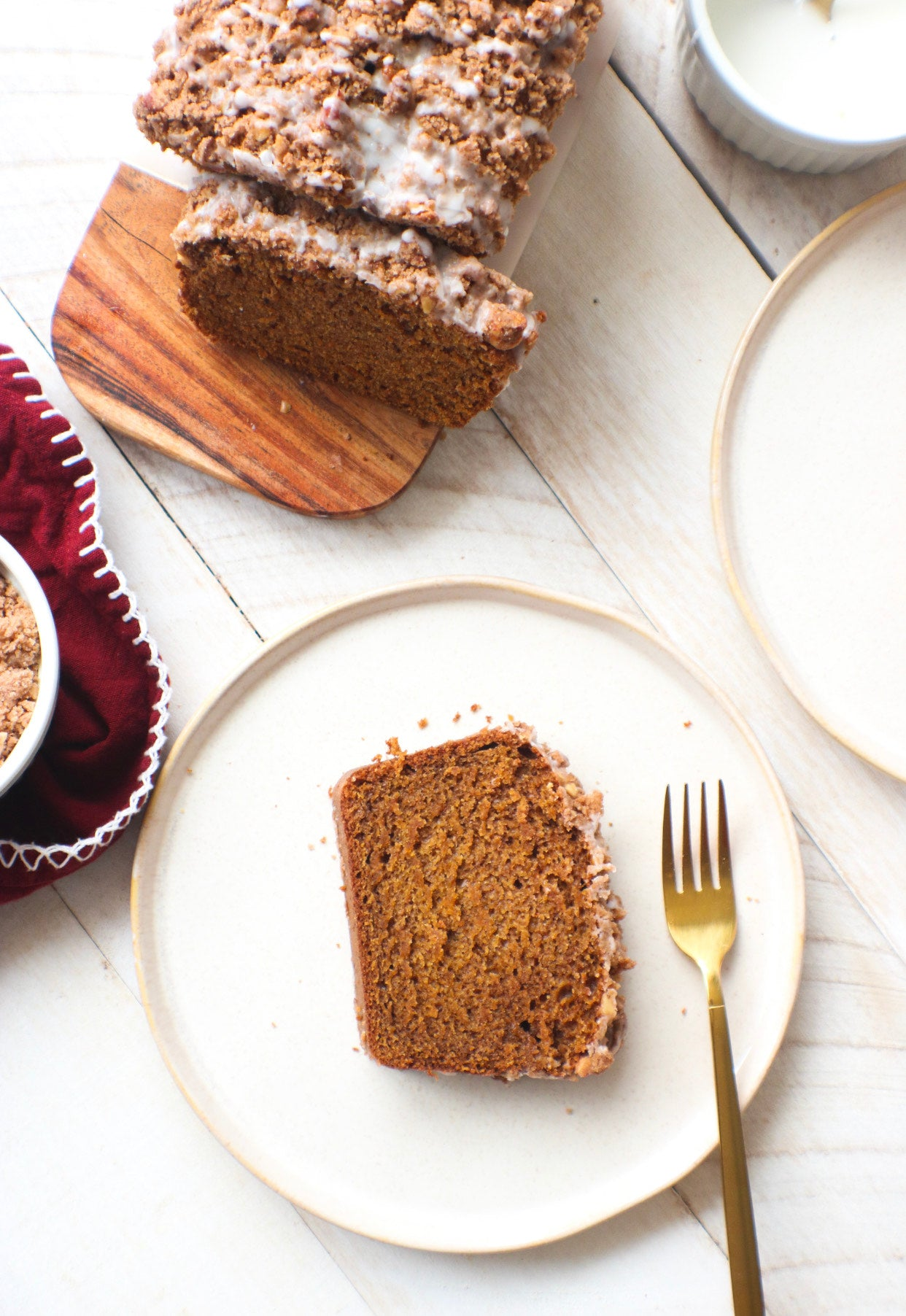 Vegan Pumpkin Streusel Cake with Pecan Butter