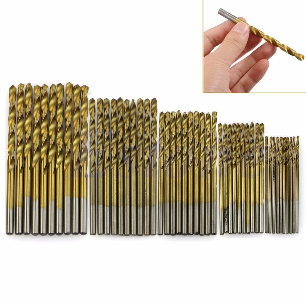 50Pcs/Set Steel Titanium Coated Drill Bits