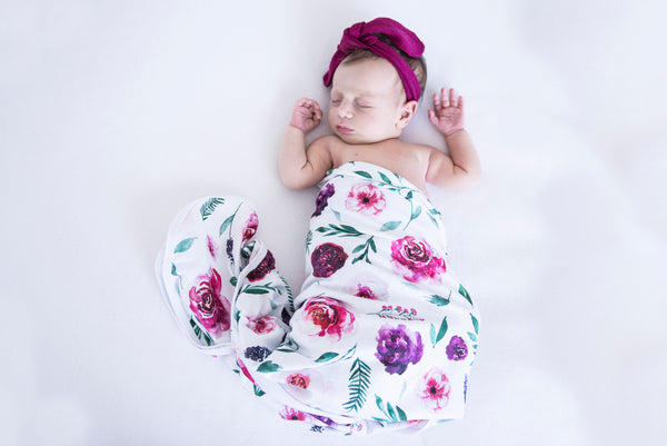 Peony Bloom - Baby Jersey Wrap & Topknot Set