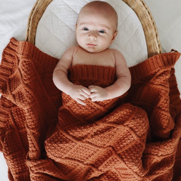 Cinnamon Organic Knitted Blanket