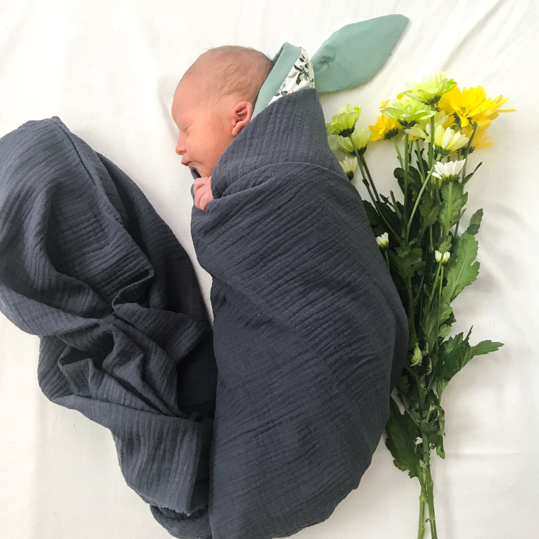 Dark Grey Organic Muslin Wrap