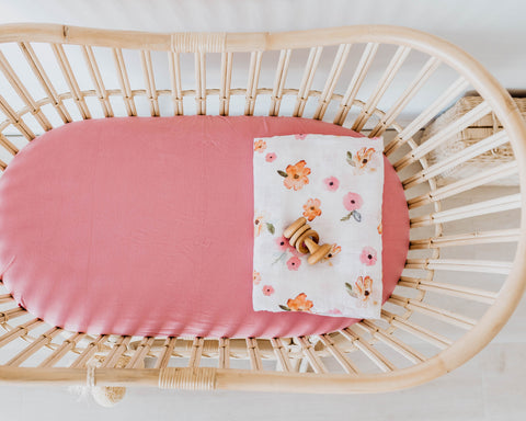 Rouge Pink - Bassinet Sheet / Change Pad Cover